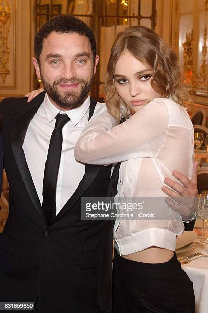 Guillaume Gouix and Lily Rose Depp attend the 'Cesar Revelations 2017' at 'Les Salons Chaumet' on January 16 2017 in Paris France