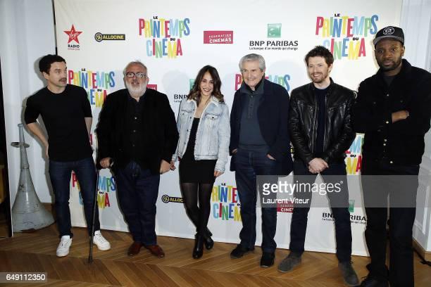 Guillaume Gouix Dominique Farrugia Alice Belaidi Claude Lelouch Pierre Deladonchamps and Abd Al Malik pose during Photocall 'Printemps du Cinema...