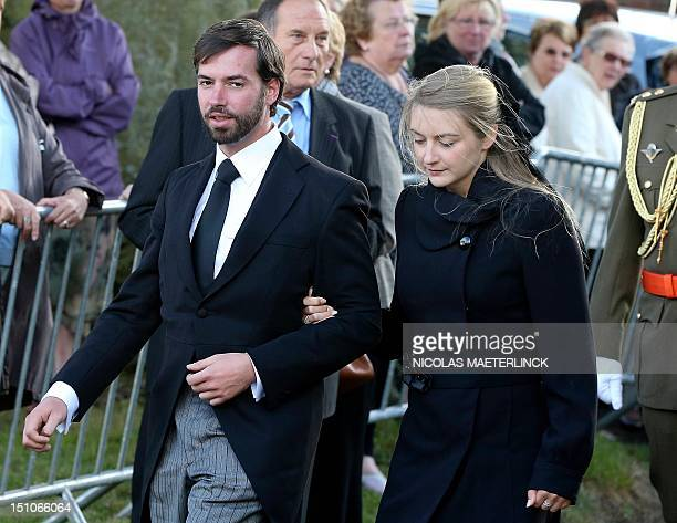 Guillaume hereditary of Grand Duke of Luxembourg and his fiancee Countess Stephanie de Lannoy leave after the funeral service for Countess Alix della...