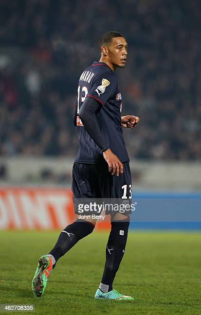 Guillaume Hoarau of Bordeaux in action during the french League Cup match between FC Girondins de Bordeaux and Paris SaintGermain FC at the Stade...