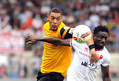 Guillaume Hoarau of BSC Young Boys competes for the ball with Jagne Pa Modou of FC Sion during the Raiffeisen Super League match on August 23 2015 in...