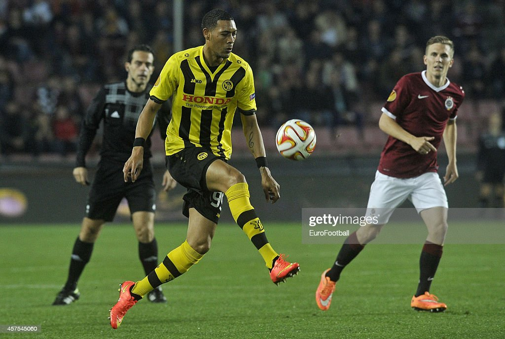 <a gi-track='captionPersonalityLinkClicked' href=/galleries/search?phrase=Guillaume+Hoarau&family=editorial&specificpeople=5223496 ng-click='$event.stopPropagation()'>Guillaume Hoarau</a> of BSC Young Boys in action during the UEFA Europa League Group I match between AC Sparta Praha and BSC Young Boys at the Stadion Letna on October 2, 2014 in Prague,Czech Republic.