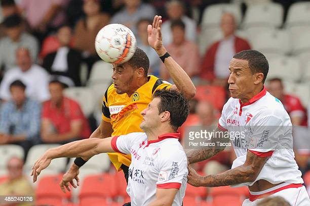 Guillaume Hoarau of BSC Young Boys striking head the ball during the Raiffeisen Super League match between FC Sion and BSC Young Boys on August 23...