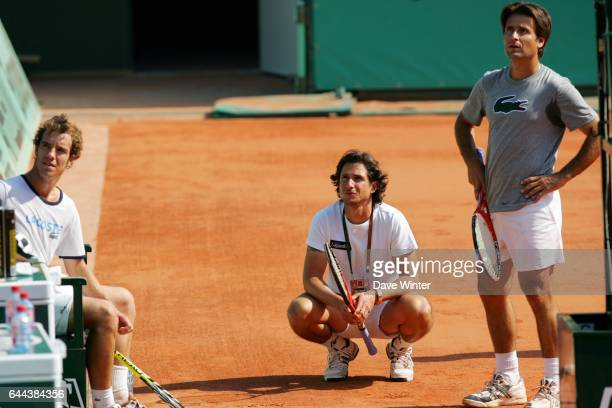 Guillaume PEYRE / Richard GASQUET / Fabrice SANTORO Entrainement Roland Garros 2008 Photo Dave Winter / Icon Sport