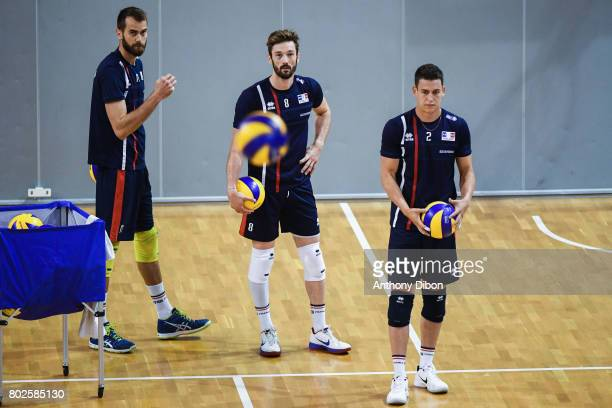 Guillaume Quesque Julien Lyneel and Jenia Grebennikov of France during a training session of the French volleyball national team on June 28 2017 in...