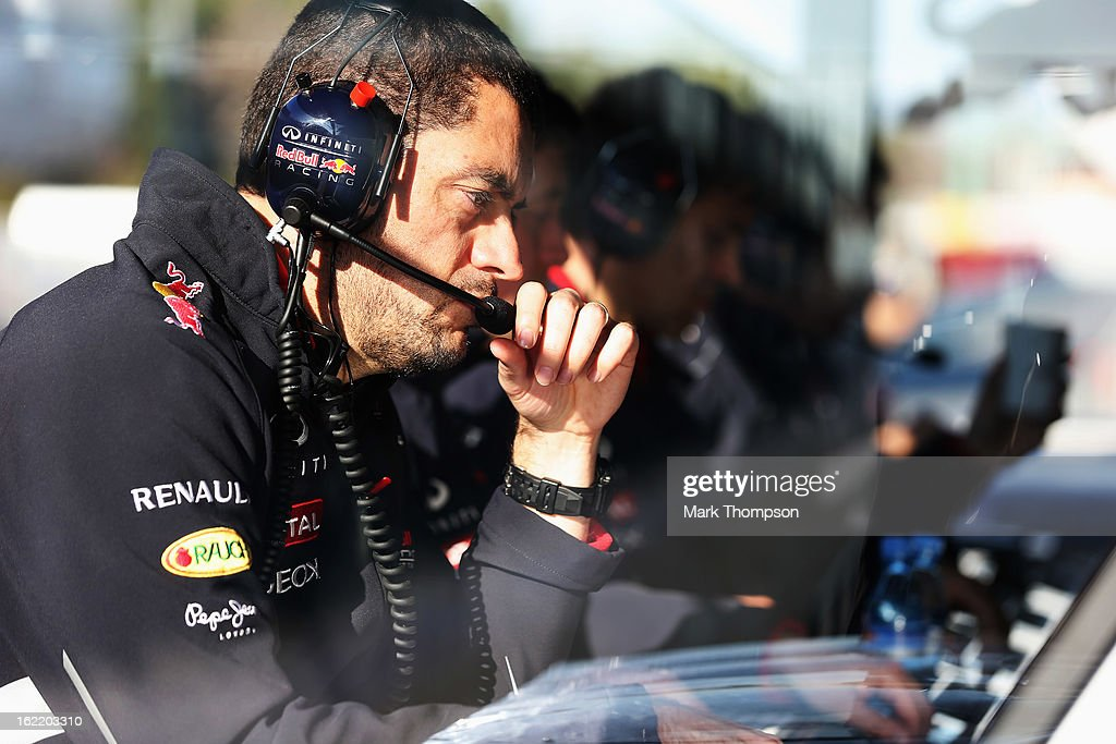 Guillaume Rocquelin, race engineer for Sebastian Vettel of Germany and Infiniti Red Bull Racing is seen during day two of Formula One winter test at the Circuit de Catalunya on February 20, 2013 in Montmelo, Spain.