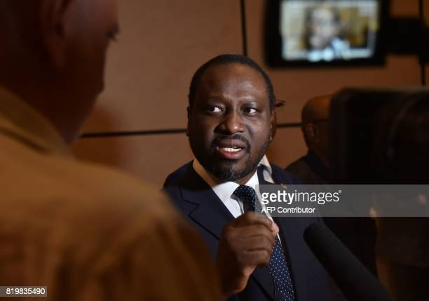 Guillaume Soro president of the Ivorian National Assembly speaks to the press on July 20 2017 at the Felix Houphouet Boigny International Airport in...