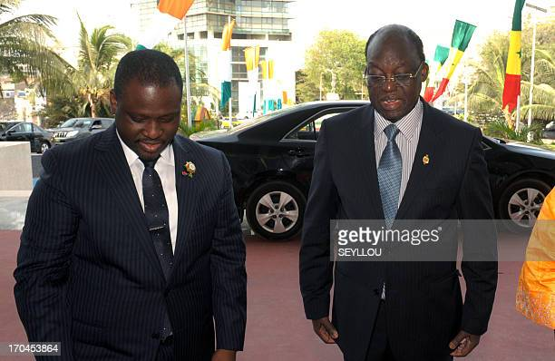 Guillaume Soro president of the National Assemby of Ivory Coast arrives for a meeting with his Senegalese counterpart Moustapha Niasse at the...