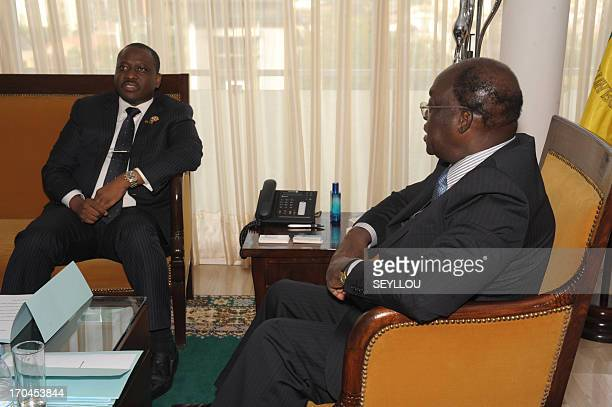 Guillaume Soro president of the National Assemby of Ivory Coast meets with his Senegalese counterpart Moustapha Niasse in Dakar on June 13 2013 AFP...