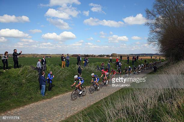Guillaume van Keirsbulck of Belgium and the EtixxQuickStep team leads a goup of riders during the 2016 Paris Roubaix from Compiegne to Roubaix on...