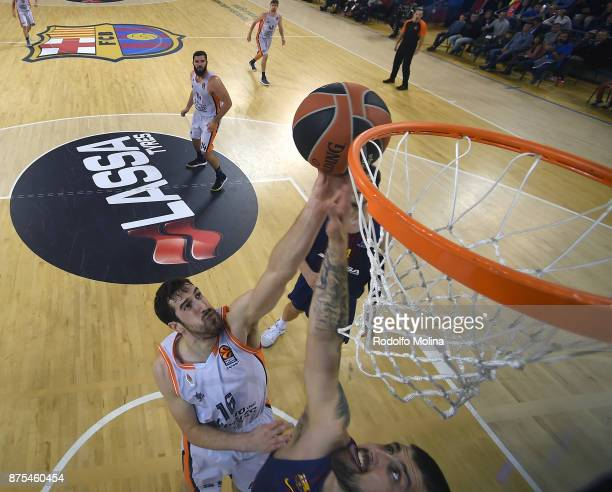 Guillem Vives #16 of Valencia Basket in action during the 2017/2018 Turkish Airlines EuroLeague Regular Season Round 8 game between FC Barcelona...