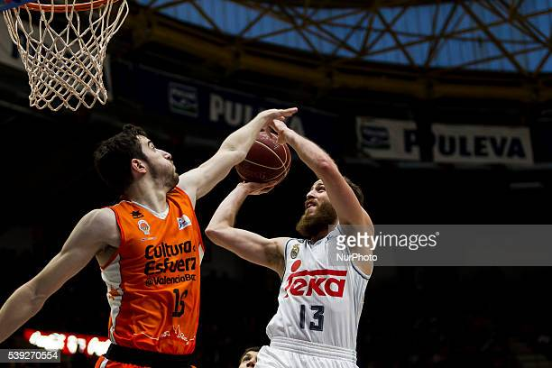 16 Guillem Vives of Valencia Basket and 13 Sergio Rodriguez of Real Madrid Basket during Endesa league basketball in fourth semifinals match between...
