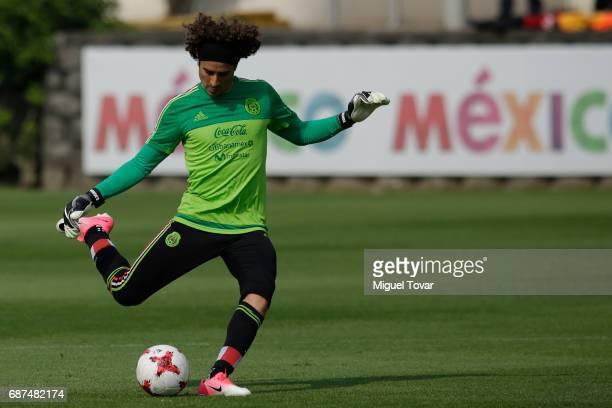 Guillemro Ochoa goalkeeper of Mexico kicks the ball during a training session at Centro Nacional de Desarrollo de Talento Deportivo y Alto...