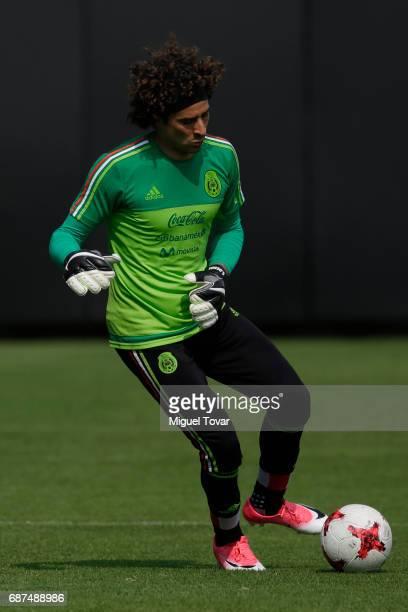 Guillemro Ochoa goalkeeper of Mexico practices during a training session at Centro Nacional de Desarrollo de Talento Deportivo y Alto Rendimiento on...