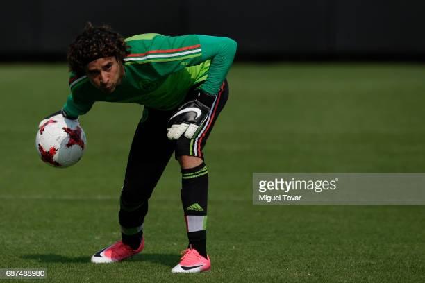Guillemro Ochoa goalkeeper of Mexico throws the ball during a training session at Centro Nacional de Desarrollo de Talento Deportivo y Alto...