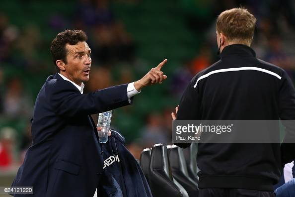 Guillermo Amor coach of Adelaide remonstrates with the fourth official before after being ejected from the sidelines during the round seven ALeague...