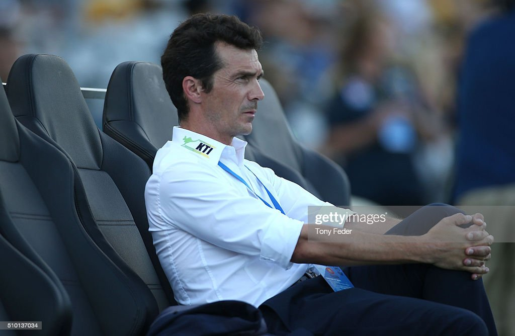 Guillermo Amor coach of Adelaide United during the round 19 A-League match between the Central Coast Mariners and Adelaide United at Central Coast Stadium on February 14, 2016 in Gosford, Australia.