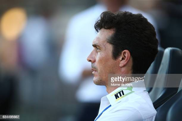 Guillermo Amor coach of Adelaide United looks on during the round 19 ALeague match between Adelaide United and Perth Glory at Coopers Stadium on...