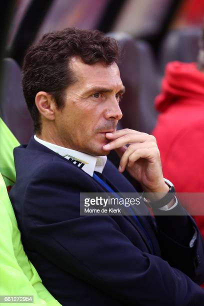 Guillermo Amor coach of Adelaide United looks on during the round 25 ALeague match between Adelaide United and Perth Glory at Coopers Stadium on...