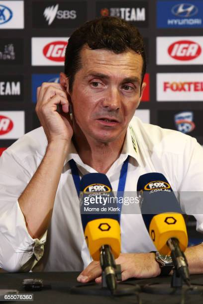 Guillermo Amor coach of Adelaide United speaks to media after the round 23 ALeague match between Adelaide United and the Brisbane Roar at Coopers...
