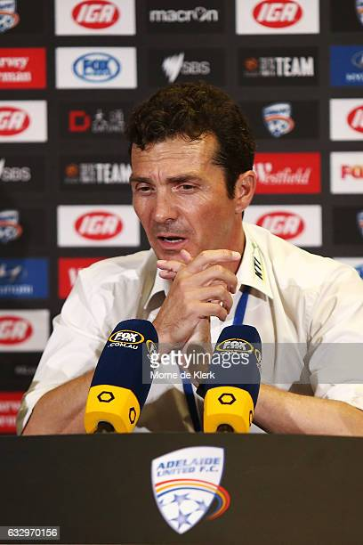 Guillermo Amor coach of Adelaide United speaks to media during a press conference after the round 17 ALeague match between Adelaide United and the...