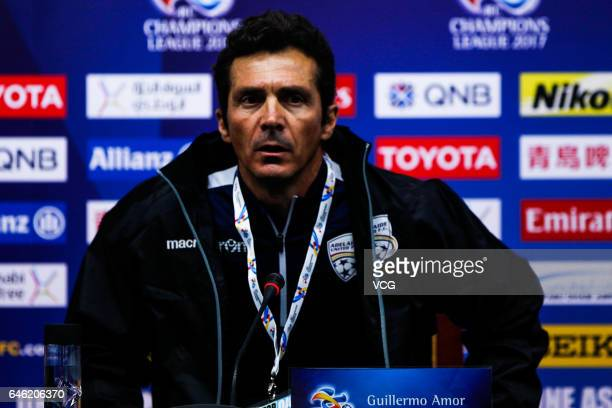 Guillermo Amor head coach of Adelaide United attends a press conference ahead of the AFC Champions League 2017 Group H match between Jiangsu Suning...