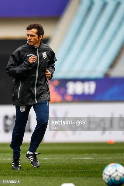 Guillermo Amor head coach of Adelaide United attends a training session ahead of the AFC Champions League 2017 Group H match between Jiangsu Suning...
