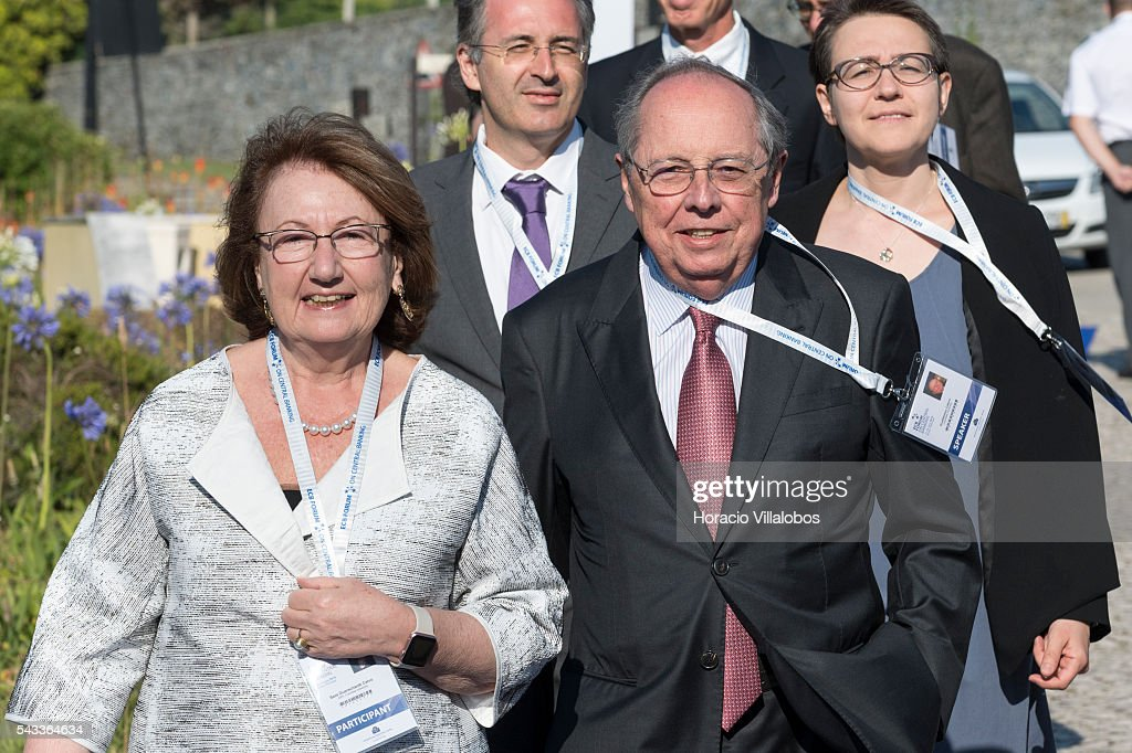 Guillermo Antonio Calvo, an Argentine-American economist who is Director of Columbia University's mid-career Program in Economic Policy Management in their School of International and Public Affairs, arrives accompanied by his wife Sara Guerschanik Calvo to participate as speaker in the ECB Forum on Central Banking on June 27, 2016 in Sintra, Portugal. The third annual European Central Bank Forum on Central Banking focuses on 'The future of the international monetary and financial architecture', a key topic of debate among economists and policymakers. Some 150 central bank governors, academics, financial journalists and high-level financial market representatives will discuss current policy issues and the chosen topic from a longer-term perspective.