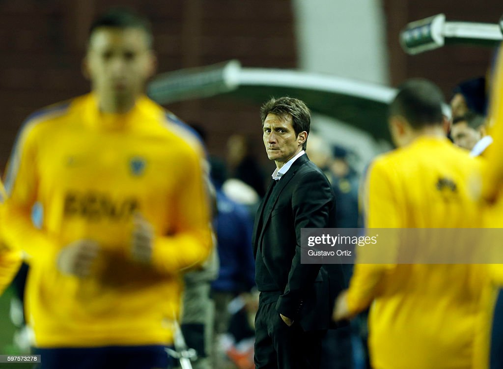 Guillermo Barros Schelotto coach of Boca Juniors looks on during a match between Lanus and Boca Juniors as part of first round of Campeonato de...