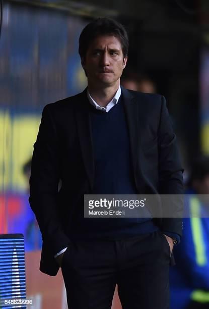 Guillermo Barros Schelotto coach of Boca Juniors looks on during a match between Boca Juniors and Godoy Cruz as part of Superliga 2017/18 at Alberto...
