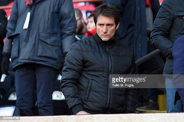 Guillermo Barros Schelotto designated Head Coach of US Citta' di Palermo looks on in VIP standing during the Serie A match between Genoa CFC and US...