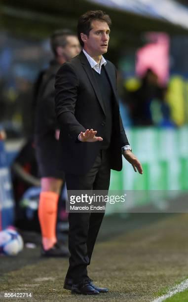 Guillermo Barros Schelotto of Boca Juniors gestures during a match between Boca Juniors and Chacarita as part of Superliga 2017/18 at Alberto J...