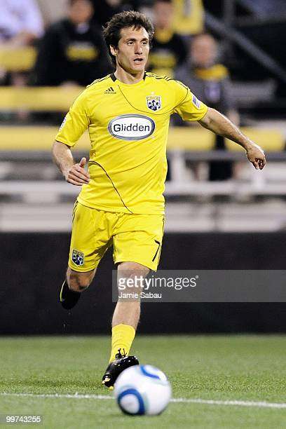 Guillermo Barros Schelotto of the Columbus Crew controls the ball against Chivas USA on May 15 2010 at Crew Stadium in Columbus Ohio