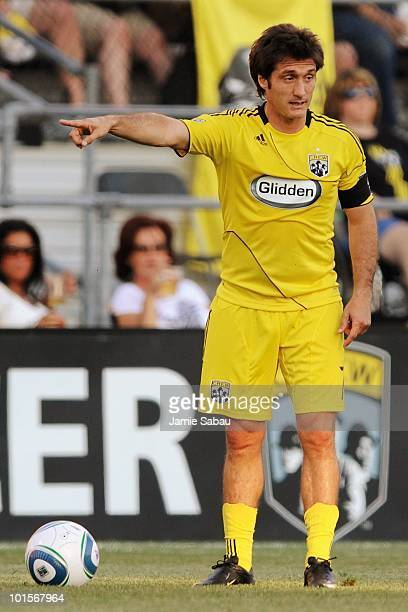 Guillermo Barros Schelotto of the Columbus Crew gets set to put the ball in play against the Los Angeles Galaxy on May 29 2010 at Crew Stadium in...