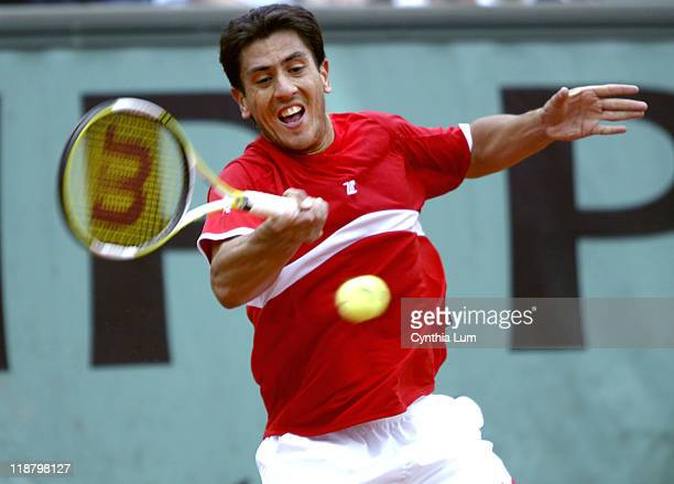 Guillermo Canas attacks the ball Guillermo Canas defeated PaulHenri Mathieu 63 76 26 67 86 in the third round of the 2005 French Open at Roland...