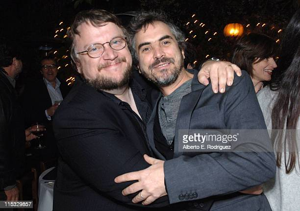 Guillermo del Toro and Alfonso Cuaron during Dinner for Guillermo Del Toro at Pane e Vino in Los Angeles California United States