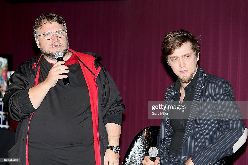 Guillermo Del Toro and Andres Muschietti speak after a screening of the new film 'Mama' during Ain't It Cool News's Butt-Numb-A-Thon 14 at the Alamo Drafthouse on December 8, 2012 in Austin, Texas.