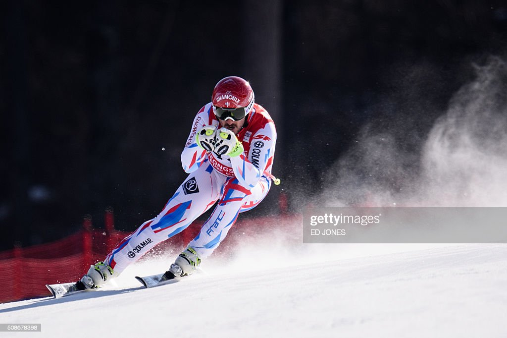 Guillermo Fayed of France competes in the 8th Men's Downhill event of the FIS Alpine Ski World Cup in Jeongseon county, some 150km east of Seoul on February 6, 2016. The FIS Ski Men's World Cup runs from February 6-7 and is the first official test event for the Pyeongchang 2018 Winter Olympics. AFP PHOTO / Ed Jones / AFP / ED