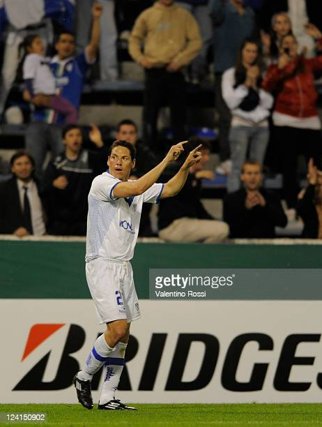 Guillermo Franco of Velez Sarsfield celebrates scored goal during a match against Argentinos Jrs as part of the 2011 Copa Bridgestone Sudamericana at...