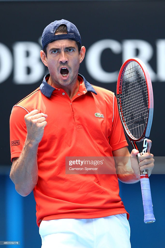 Guillermo Garcia-Lopez of Spain celebrates a point in his fourth round match against Stanislas Wawrinka of Switzerland during day eight of the 2015 Australian Open at Melbourne Park on January 26, 2015 in Melbourne, Australia.