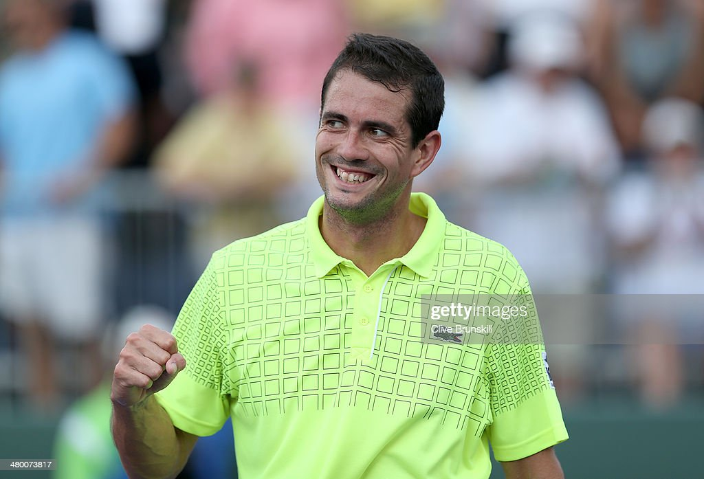 Guillermo Garcia-Lopez of Spain celebrates match point against Gael Monfils of France during their second round match during day 6 at the Sony Open at Crandon Park Tennis Center on March 22, 2014 in Key Biscayne, Florida.