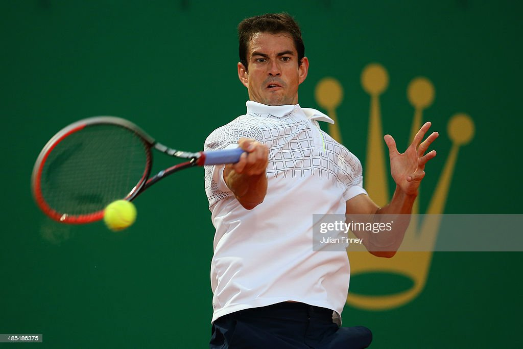 Guillermo Garcia-Lopez of Spain in action in his match against Novak Djokovic of Serbia during day six of the ATP Monte Carlo Rolex Masters Tennis at Monte-Carlo Sporting Club on April 18, 2014 in Monte-Carlo, Monaco.