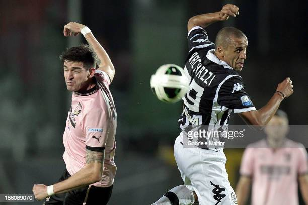 Guillermo Giacomazzi of AC Siena fights for the ball with Kyle Lafferty of US Citta' di Palermo during the Serie B match between AC Siena and US...