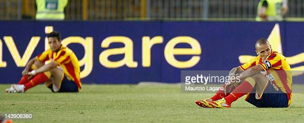 Guillermo Giacomazzi of Lecce shows his dejection after the Serie A match between US Lecce and ACF Fiorentina at Stadio Via del Mare on May 5 2012 in...