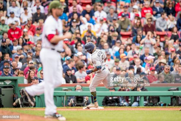Guillermo Heredia of the Seattle Mariners rounds the bases after hitting a solo home run off of Heath Hembree of the Boston Red Sox during the...