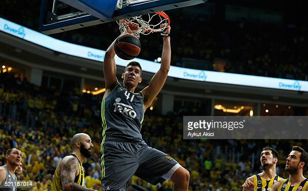 Guillermo Hernangomez #41 of Real Madrid in action during the 20152016 Turkish Airlines Euroleague Basketball Playoffs Game 2 between Fenerbahce...