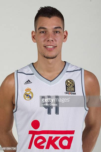 Guillermo Hernangomez of Real Madrid poses during the 2015/2016 Turkish Airlines Euroleague Basketball Media Day at Polideportivo Valle de Las Casas...