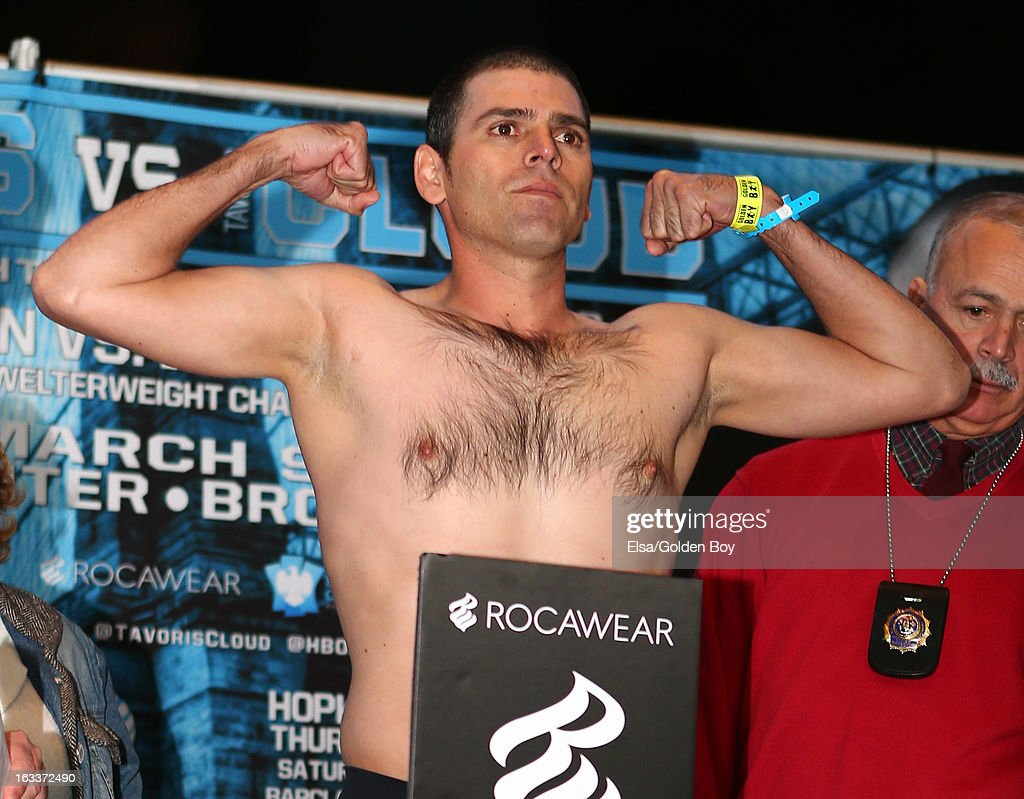 Guillermo Ibarra steps on the scale for the weigh in on March 8, 2013 at the Barclays Center in the Brooklyn borough of New York City.