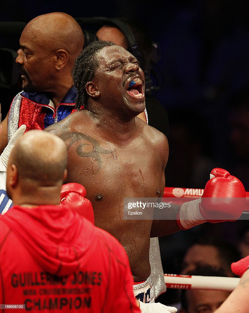 Guillermo Jones of Panama celebrates after defeating Denis Lebedev of Russia during their WBA cruiserweight title bout at the Crocus City Hall on May 17, 2013 in Moscow, Russia.