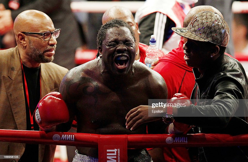 <a gi-track='captionPersonalityLinkClicked' href=/galleries/search?phrase=Guillermo+Jones&family=editorial&specificpeople=244103 ng-click='$event.stopPropagation()'>Guillermo Jones</a> of Panama celebrates after defeating Denis Lebedev of Russia during their WBA cruiserweight title bout at the Crocus City Hall on May 17, 2013 in Moscow, Russia.
